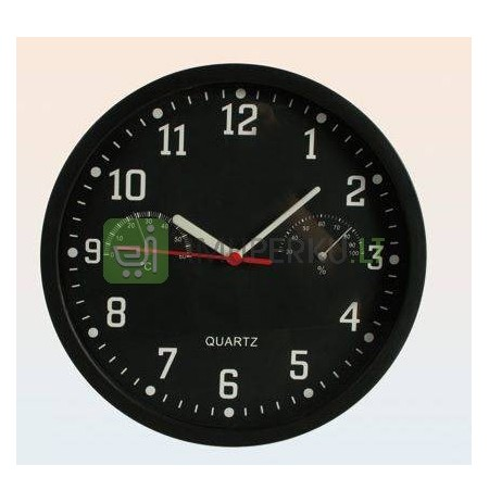 Wall clock with thermo and humidity meter - BLACK