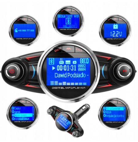 Daugiafunkcinis automobilio FM siųstuvas - BLUETOOTH 4.0 USB 8in1