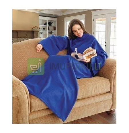 Blanket with sleeves (gown) and pocket - blue